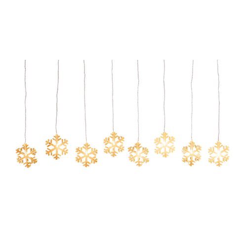 LED Curtain String Lights Warm White Snowflakes